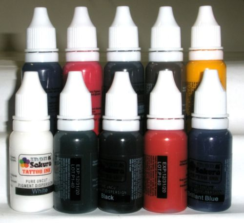 HIGH QUALITY TATTOO INK PIGMENT 10 Colors 15ml 1/2oz